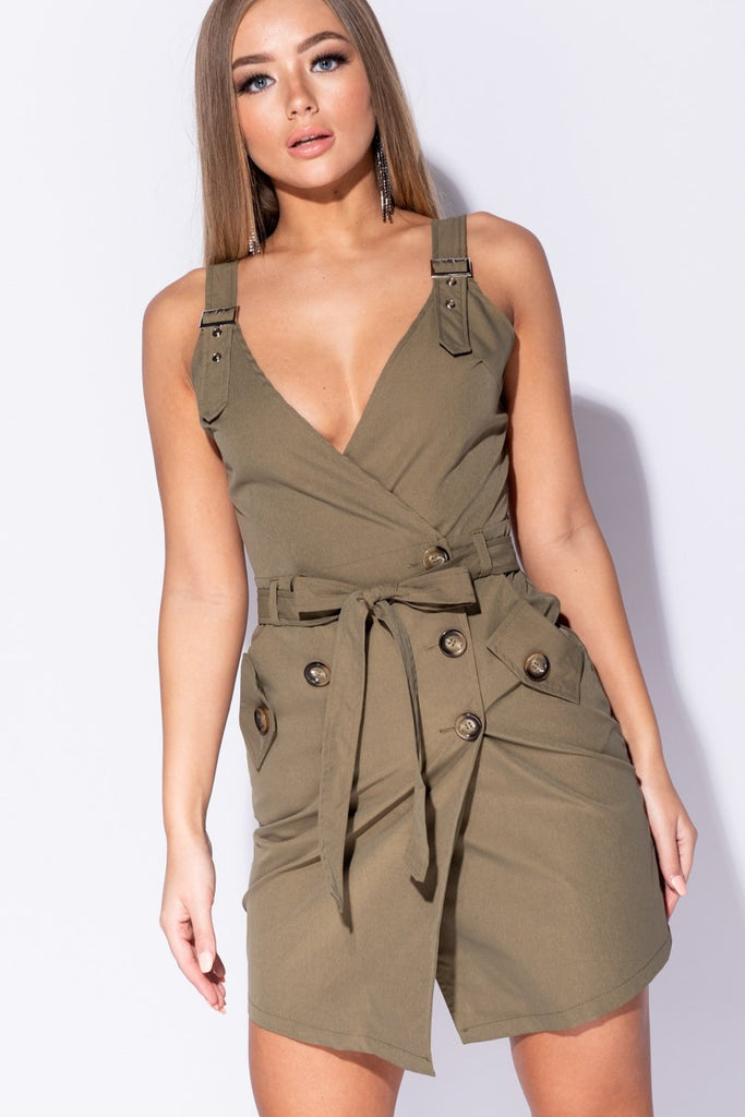 Image: Khaki Button Trim Wrapover Front Mini Dress