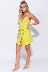 Neon Green Button Trim Wrapover Front Mini Dress