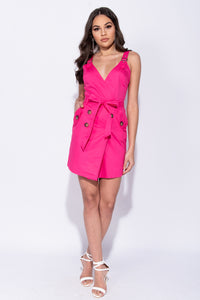 Neon Pink Button Trim Wrapover Front Mini Dress