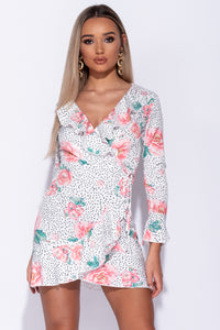 White Floral Frill Detail Long Sleeve Dress