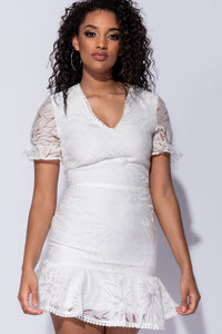 White Lace Frill Hem V Neck Mini Dress