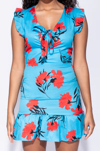 Blue Floral Frill Hem Front Tie Sleeveless Mini Dress - Parisian-uk