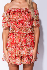 Red Ditsy Floral Tiered Shirring Detail Bardot Dress