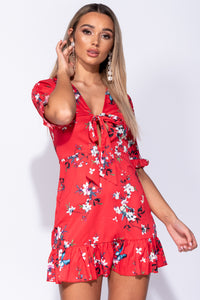 Red Floral Frill Detail Tie Front Mini Dress