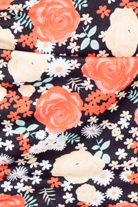 Black Orange Floral Ruching Detail Cami Bodycon Dress - Parisian-uk