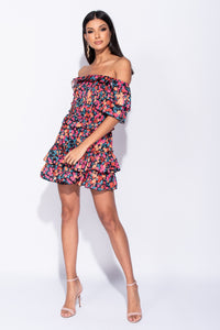 Multi Ditsy Floral Tiered Frill Bandeau Mini Dress