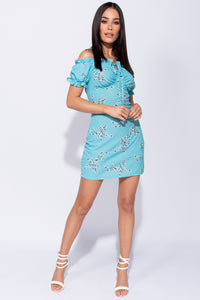Turquoise Blossom Floral Bardot Tie Detail Mini Dress