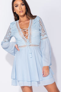 Light Blue Lace Panel Tie Up Front Bell Sleeve Mini Dress
