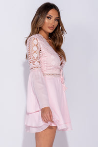 Pink Lace Panel Tie Up Front Bell Sleeve Mini Dress