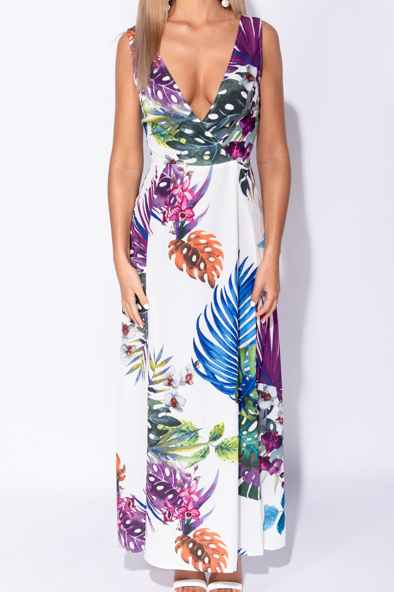 cbed0853340 ... White Tropical Leaf Print Wrap Front Thigh Split Maxi Dress ...