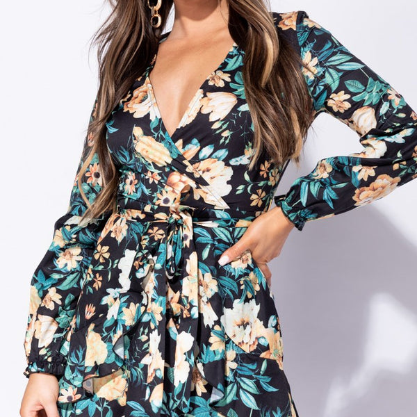 Stockists of Black Floral Frill Detail Wrap Front Mini Dress