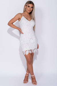 White Lace V Front Strappy Bodycon Dress