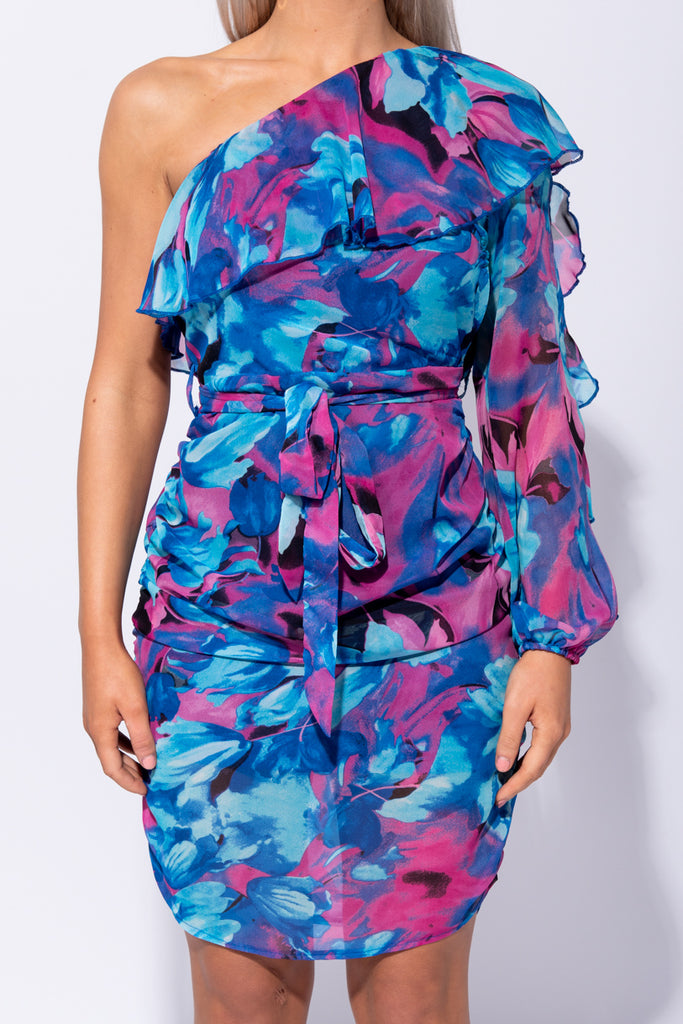 Image: Blue Abstract Floral One Shoulder Frill Detail Ruched Mini Dress - Parisian-uk