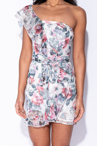 White Floral One Shoulder Frill Detail Waist Tie Mini Dress