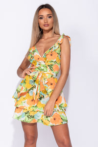 Multi Floral Frill Detail Wrapover Front Belted Mini Dress