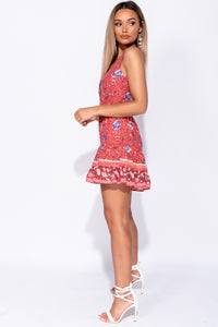 Red Floral V Neck Tiered Detail Mini Dress