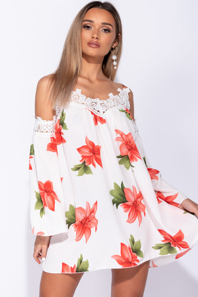 Image: White Floral Crochet Lace Trim Flare Sleeve Mini Dress