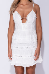 White Crochet Lace Trim Plunge Front Tiered Mini Dress