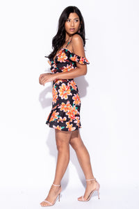 Black Floral Frill Detail Cold Shoulder Mini Dress - Parisian-uk