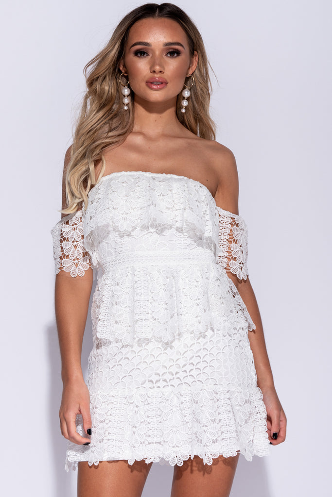 Image: White Bardot Lace Frill Detail Bodycon Mini Dress