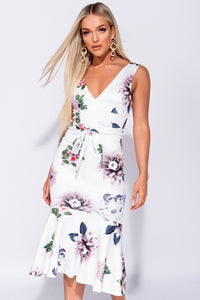 White Floral Plunge Front Fish Tail Hem Midi Dress