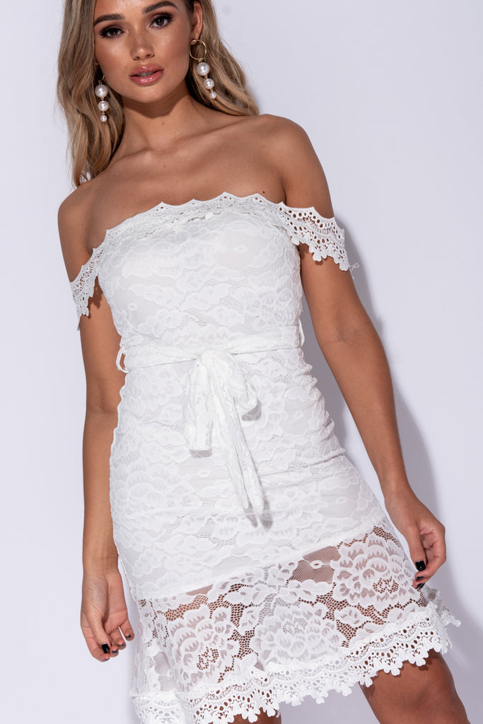 Image: White Bardot Lace Tie Waist Bodycon Mini Dress