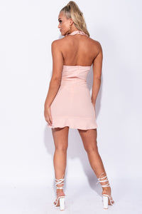 Pink Frill Detail Wrapover Front Halterneck Mini Dress