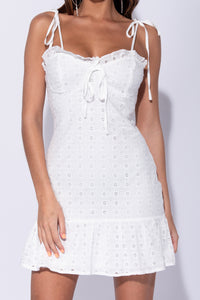 White Broderie Lace Frill Hem Tie Strap Mini Dress