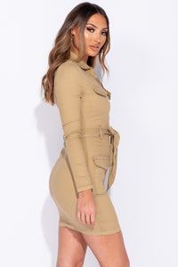 Camel Long Sleeve Zip Front Self Belt Stretch Denim Dress