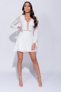 White Embroidered Lace Tie Sleeve Mini Dress