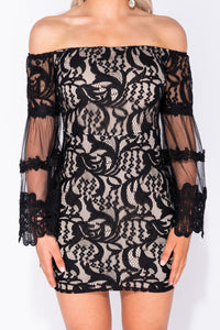 Black Bardot Lace Flared Sleeve Bodycon Mini Dress