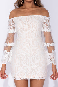 White Bardot Lace Flared Sleeve Bodycon Mini Dress