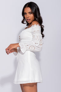 White Broderie Lace Puff Sleeve Lace Front Mini Dress
