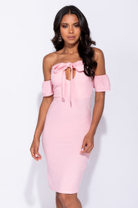 Pink Cut Out Front Tie Front Bandeau Midi Dress