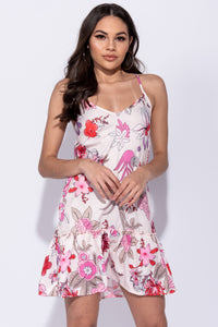 Nude Floral Print Frill Hem Detail Cami Dress