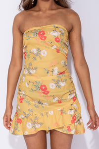 Yellow Floral Ruching Side Frill Hem Bandeau Mini Dress