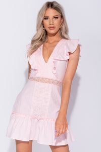 Pink Crochet Lace Trim Frill Detail V Neck Mini Dress
