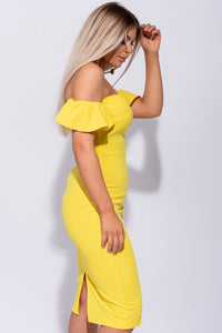 Yellow Panel Detail Frill Sleeve Bardot Bodycon Mini Dress