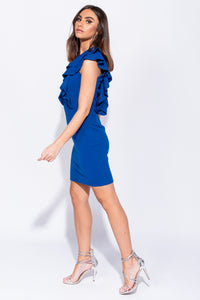 Navy Multi Ruffle V Neck Bodycon Mini Dress