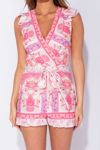 Pink Floral Print Wrap Front Frill Detail Waist Tie Playsuit