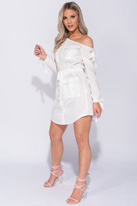 White One Shoulder Utlity Style Tie Waist Mini Dress