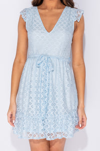 Light Blue Geometric Lace V Neck Frill Detail Mini Dress