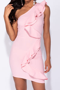 Pink One Shoulder Frill Detail Bodycon Mini Dress
