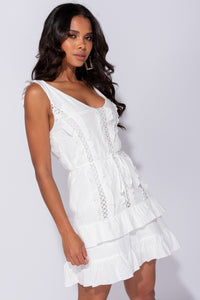 White Lace Trim Multi Frill Tie Waist Sleeveless Mini Dress