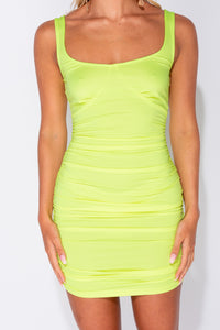 Neon Green Ruched Side Bustier Detail Bodycon Mini Dress