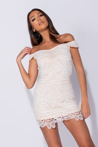 White Nude Guipure Lace Bardot Bodycon Mini Dress