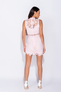 Pink Lace Sweetheart Neck Line Sleeveless Bodycon Mini Dress