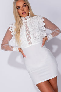 White Lace Bodice Sheer Sleeve High Neck Mini Dress