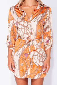 Beige Chain Print Self Belt Shirt Dress - Parisian-uk