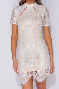 White Baroque Lace Scallop Hem High Neck Bodycon Mini Dress